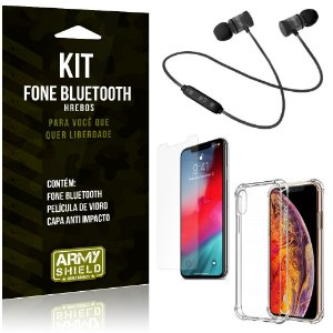 Kit Fone Bluetooth Hrebos iPhone XS 5.8 + Capa Anti + Película Vidro - Armyshield