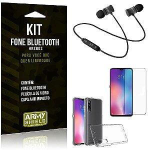 Kit Fone Bluetooth Hrebos Mi 9 Lite + Capa Anti + Película Vidro - Armyshield
