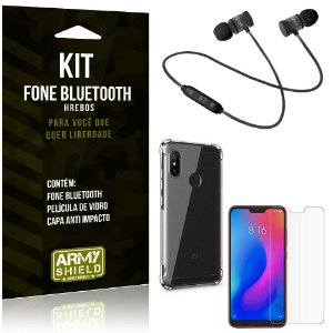 Kit Fone Bluetooth Hrebos Mi A2 Lite (Redmi 6 Pro) + Capa Anti + Película Vidro - Armyshield