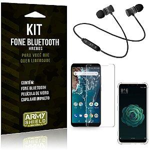Kit Fone Bluetooth Hrebos Mi A2 (Mi 6X) + Capa Anti + Película Vidro - Armyshield