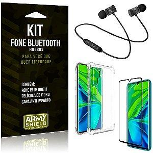 Kit Fone Bluetooth Hrebos Mi Note 10 - Note 10 Pro + Capa Anti + Película Vidro - Armyshield