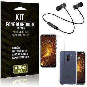 Kit Fone Bluetooth Hrebos Pocophone F1 + Capa Anti + Película Vidro - Armyshield