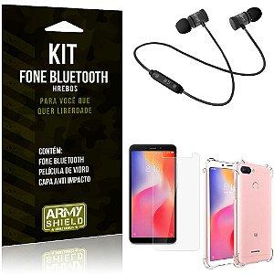 Kit Fone Bluetooth Hrebos Redmi 6 + Capa Anti + Película Vidro - Armyshield