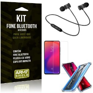 Kit Fone Bluetooth Hrebos Redmi K20 Mi 9T + Capa Anti + Película Vidro - Armyshield