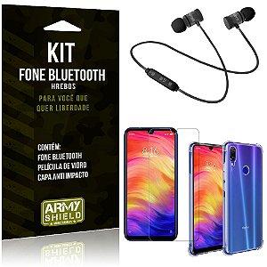 Kit Fone Bluetooth Hrebos Redmi Note 7 - Note 7 Pro + Capa Anti + Película Vidro - Armyshield