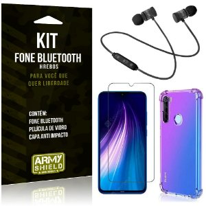Kit Fone Bluetooth Hrebos Redmi Note 8 + Capa Anti + Película Vidro - Armyshield