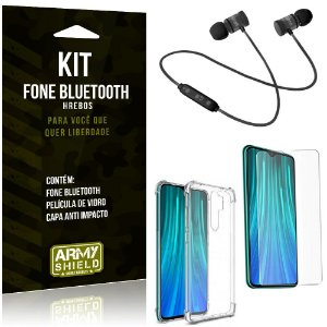 Kit Fone Bluetooth Hrebos Redmi Note 8 Pro + Capa Anti + Película Vidro - Armyshield