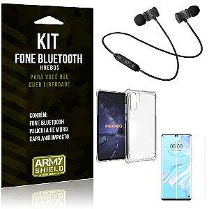 Kit Fone Bluetooth Hrebos Huawei P30 Pro + Capa Anti + Película Vidro - Armyshield