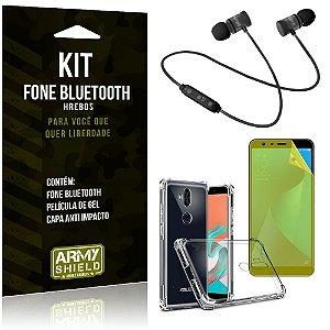 Kit Fone Bluetooth Hrebos Zenfone 5 Selfie ZC600KL + Capa Anti + Película Vidro - Armyshield