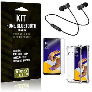 Kit Fone Bluetooth Hrebos Zenfone 5Z ZS620KL + Capa Anti + Película Vidro - Armyshield