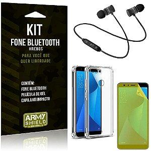 Kit Fone Bluetooth Hrebos Zenfone Max Plus M1 ZB570TL + Capa Anti + Película Vidro - Armyshield