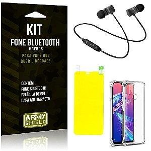 Kit Fone Bluetooth Hrebos Zenfone Max Pro M2 ZB631KL + Capa Anti + Película Gel - Armyshield