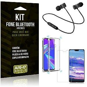 Kit Fone Bluetooth Hrebos Zenfone Max Pro M2 ZB631KL + Capa Anti + Película Vidro - Armyshield