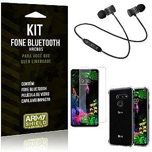 Kit Fone Bluetooth Hrebos LG G8S + Capa Anti + Película Vidro - Armyshield