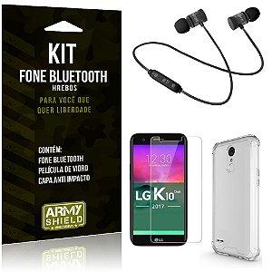 Kit Fone Bluetooth Hrebos LG K10 Novo + Capa Anti + Película Vidro - Armyshield