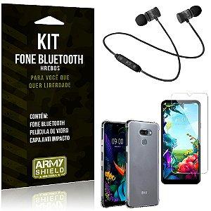 Kit Fone Bluetooth Hrebos LG K40s + Capa Anti + Película Vidro - Armyshield