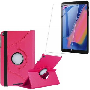 Capa Giratória Galaxy Tab A 8 S-pen P200/P205 Pink + Película Vidro - Armyshield