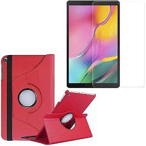 Capa Giratória Galaxy Tab A 10.1' T515/T510 Vermelha + Película Vidro - Armyshield