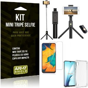 Kit Mini Tripé Selfie Galaxy A10 + Capa Anti + Película Vidro - Armyshield