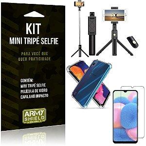 Kit Mini Tripé Selfie Galaxy A10s + Capa Anti + Película Vidro - Armyshield