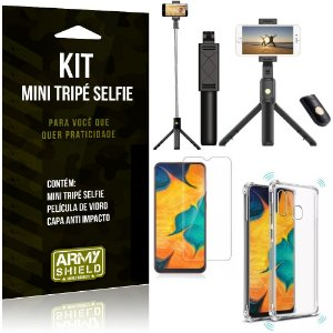 Kit Mini Tripé Selfie Galaxy A20 + Capa Anti + Película Vidro - Armyshield