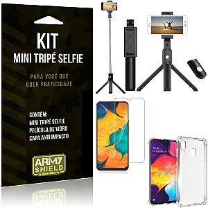 Kit Mini Tripé Selfie Galaxy A30 + Capa Anti + Película Vidro - Armyshield