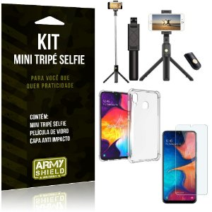 Kit Mini Tripé Selfie Galaxy A30s + Capa Anti + Película Vidro - Armyshield