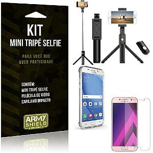 Kit Mini Tripé Selfie Galaxy A3 (2017) + Capa Anti + Película Vidro - Armyshield