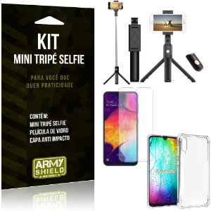 Kit Mini Tripé Selfie Galaxy A50 + Capa Anti + Película Vidro - Armyshield