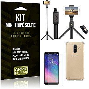 Kit Mini Tripé Selfie Galaxy A6 Plus + Capa Anti + Película Vidro - Armyshield