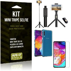 Kit Mini Tripé Selfie Galaxy A70 + Capa Anti + Película Vidro - Armyshield