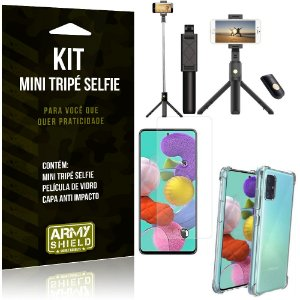 Kit Mini Tripé Selfie Galaxy A71 + Capa Anti + Película Vidro - Armyshield