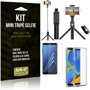 Kit Mini Tripé Selfie Galaxy A7 (2018) + Capa Anti + Película Vidro - Armyshield