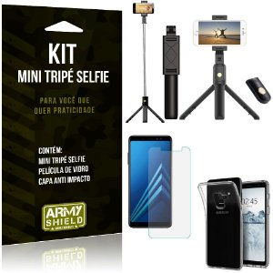 Kit Mini Tripé Selfie Galaxy A8 Plus + Capa Anti + Película Vidro - Armyshield