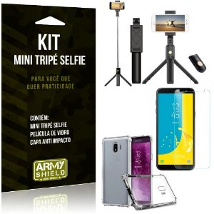 Kit Mini Tripé Selfie Galaxy J4 (2018) + Capa Anti + Película Vidro - Armyshield