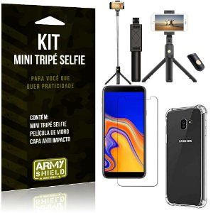 Kit Mini Tripé Selfie Galaxy J4 Plus (2018) + Capa Anti + Película Vidro - Armyshield