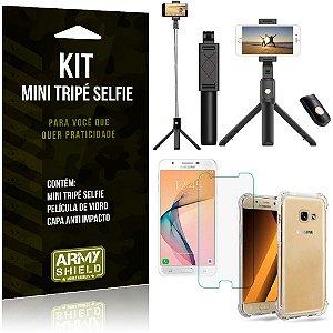 Kit Mini Tripé Selfie Galaxy J5 Prime + Capa Anti + Película Vidro - Armyshield