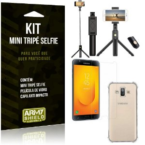 Kit Mini Tripé Selfie Galaxy J7 Duo (2018) + Capa Anti + Película Vidro - Armyshield