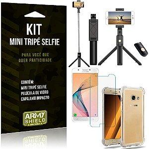 Kit Mini Tripé Selfie Galaxy J7 Prime + Capa Anti + Película Vidro - Armyshield