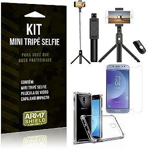 Kit Mini Tripé Selfie Galaxy J7 Pro (2017) + Capa Anti + Película Vidro - Armyshield