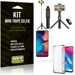 Kit Mini Tripé Selfie Galaxy M10 + Capa Anti + Película Vidro - Armyshield