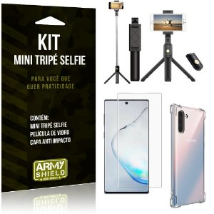 Kit Mini Tripé Selfie Galaxy Note 10 + Capa Anti + Película Vidro - Armyshield
