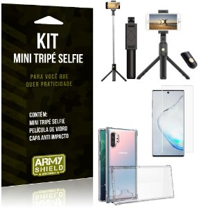 Kit Mini Tripé Selfie Galaxy Note 10 Plus + Capa Anti + Película Vidro - Armyshield