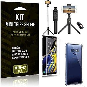 Kit Mini Tripé Selfie Galaxy Note 9 + Capa Anti + Película Vidro - Armyshield