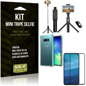 Kit Mini Tripé Selfie Galaxy S10e + Capa Anti + Película Vidro - Armyshield