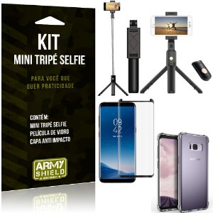 Kit Mini Tripé Selfie Galaxy S8 + Capa Anti + Película Vidro - Armyshield
