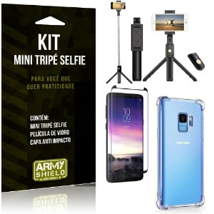 Kit Mini Tripé Selfie Galaxy S9 + Capa Anti + Película Vidro - Armyshield