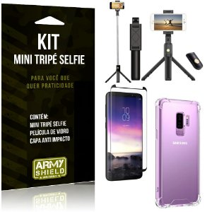 Kit Mini Tripé Selfie Galaxy S9 Plus + Capa Anti + Película Vidro - Armyshield