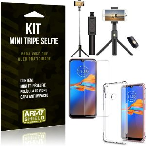 Kit Mini Tripé Selfie Moto E6 Plus + Capa Anti + Película Vidro - Armyshield