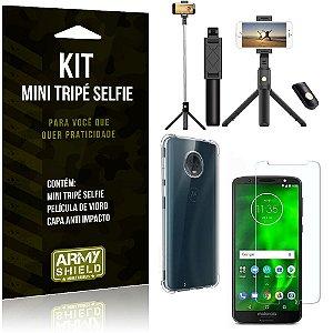 Kit Mini Tripé Selfie Moto G6 + Capa Anti + Película Vidro - Armyshield